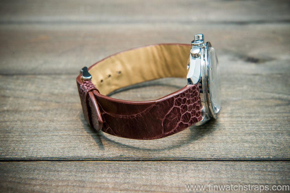 Ostrich legs leather watch strap, Glazed Marron color, handmade in Finland, 10-26 mm - finwatchstraps