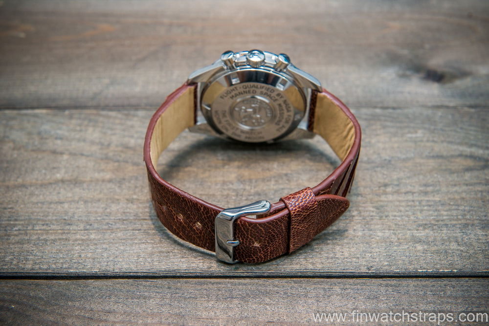 Ostrich legs leather watch strap, Glazed Whiskey color, handmade in Finland, 10-26 mm - finwatchstraps
