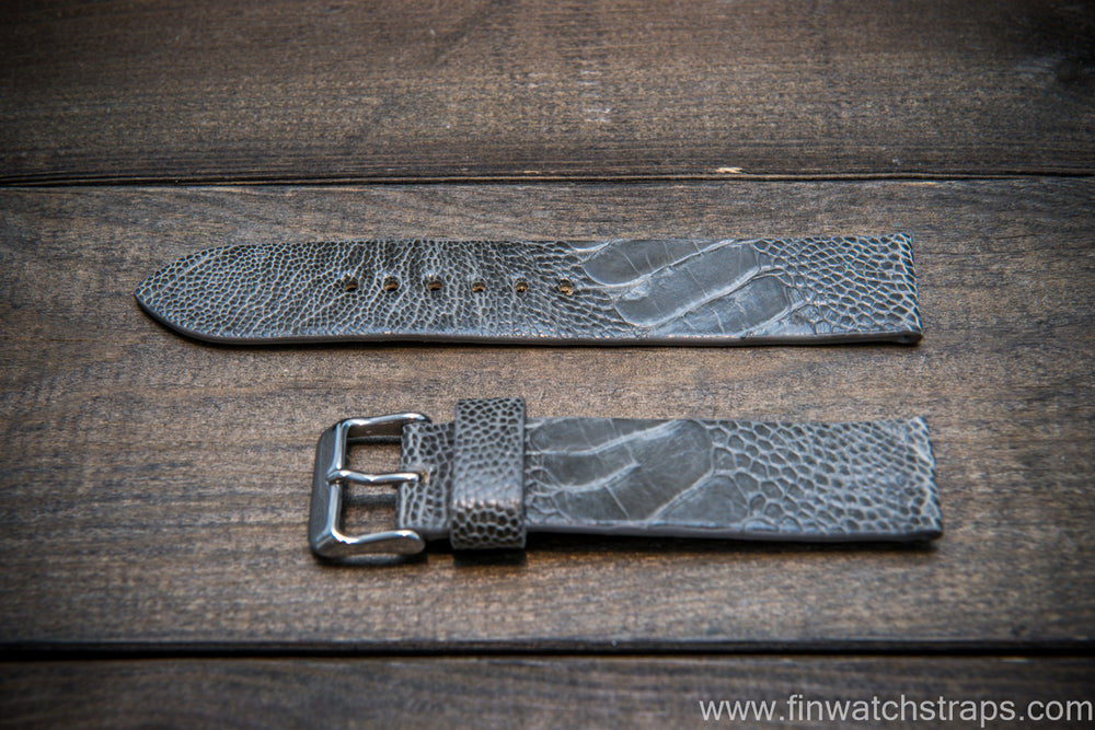 Ostrich legs leather watch strap, Glazed Serpentine color, handmade in Finland, 10-26 mm - finwatchstraps