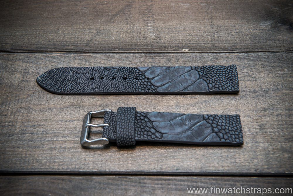 Ostrich legs leather watch strap, Stonewash Black color, handmade in Finland, 10-26 mm - finwatchstraps