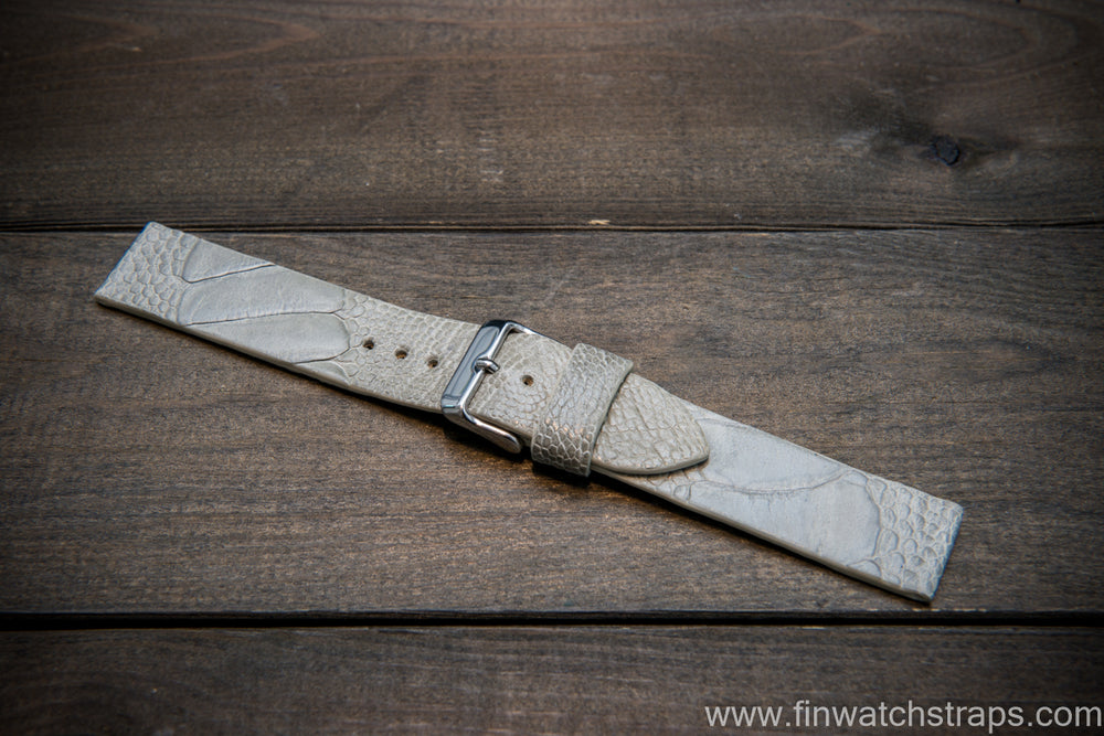 Ostrich legs leather watch strap, Glazed Stone color, handmade in Finland, 10-26 mm - finwatchstraps