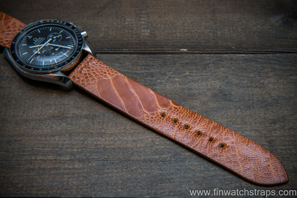 Ostrich legs leather watch strap, Glazed Brandy color, handmade in Finland, 10-26 mm - finwatchstraps