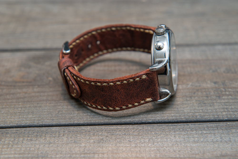 Horween Rustic leather watch strap, horse fronts leather, hand stitched,  handmade in Finland - 18mm, 19 mm, 20mm, 21 mm, 22mm, 23 mm, 24mm, 25 mm, 26 mm. - finwatchstraps