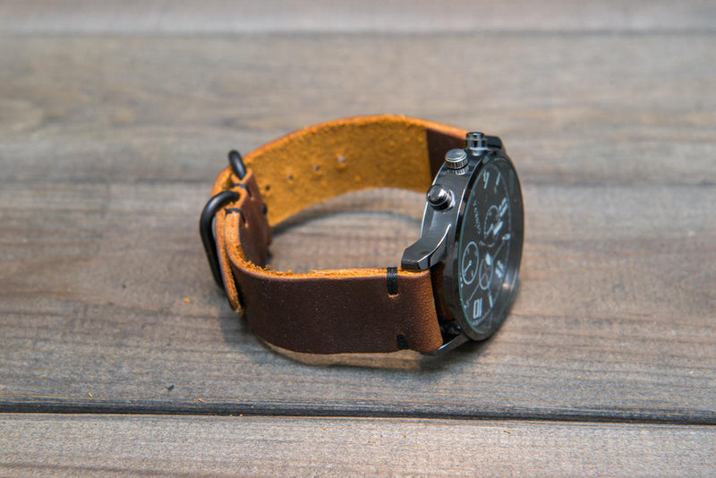 Vandyke leather watch strap, handmade in Finland - 16mm, 17 mm, 18mm, 19mm, 20mm, 21 mm, 22mm, 23 mm, 24mm. - finwatchstraps