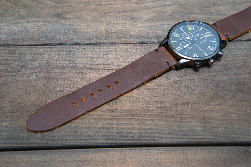 Vandyke leather watch strap, handmade in Finland - 16mm, 17 mm, 18mm, 19mm, 20mm, 21 mm, 22mm, 23 mm, 24mm.