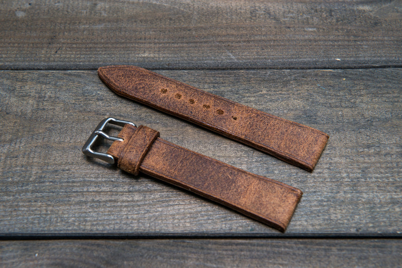 Cognac Monaux suede leather watch strap 3-4 mm thick with lining, handmade in Finland.