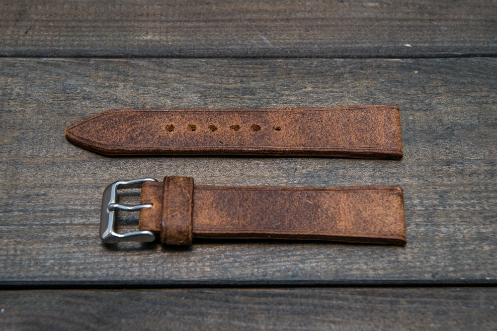 Cognac Monaux suede leather watch strap 3-4 mm thick with lining, handmade in Finland. - finwatchstraps