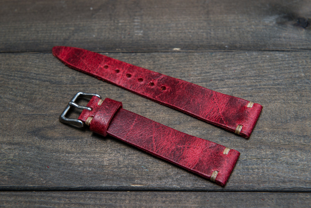 Suede vintage tapered leather watch strap (Crazy cow), handmade in Finland. - finwatchstraps