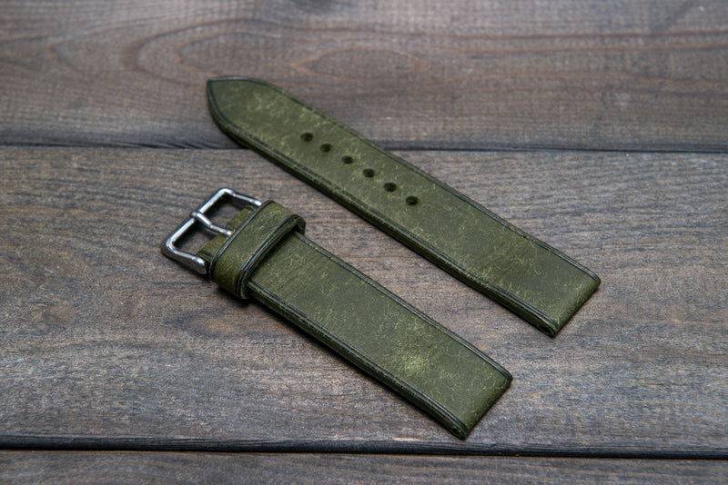 Badalassi Carlo, Pueblo Olive leather watch strap 3-4 mm thick with lining, handmade in Finland. - finwatchstraps