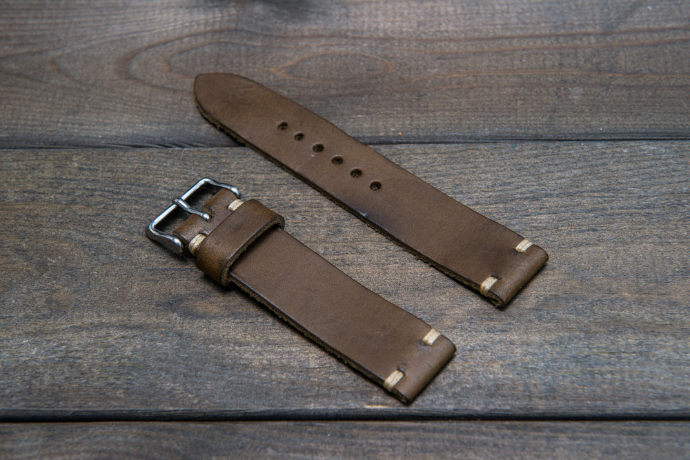 Badalassi Wax  leather watch strap. Hand-made to order in Finland. - finwatchstraps