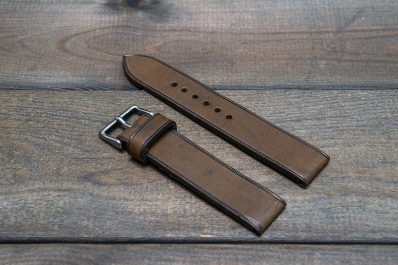 Badalassi Carlo Minerva Tundra leather watch strap 3-4 mm thick with lining, handmade in Finland.