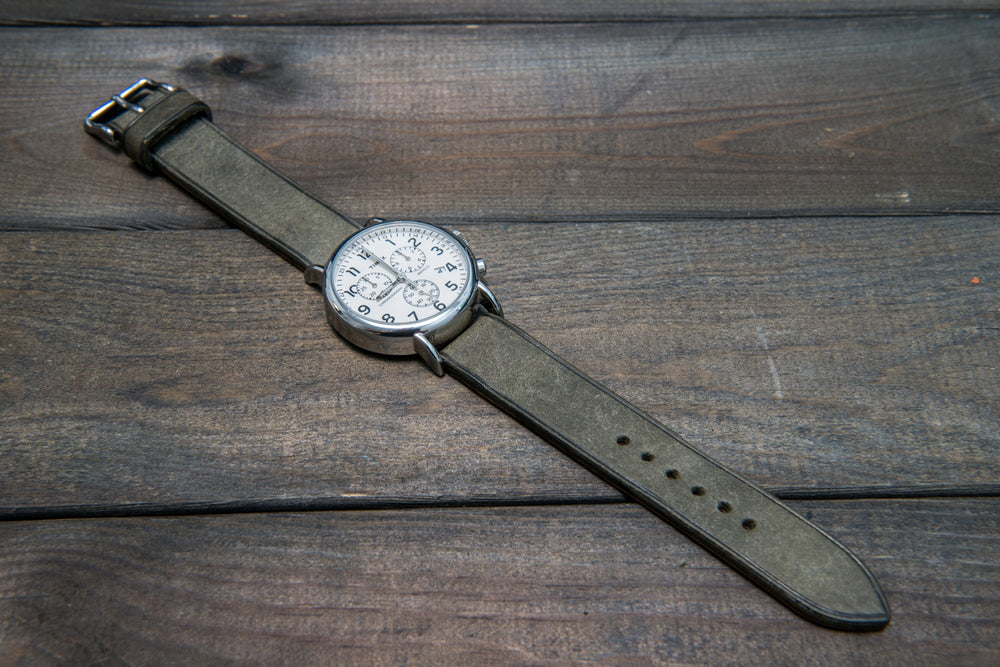 Badalassi Carlo, Pueblo Grigio leather watch strap 3-4 mm thick with lining, handmade in Finland. - finwatchstraps