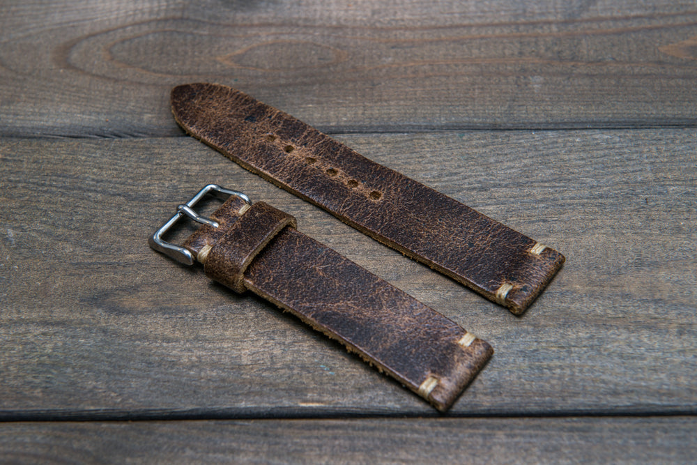 Suede vintage leather watch strap (Crazy cow, Teak), 1 leather keeper, handmade in Finland