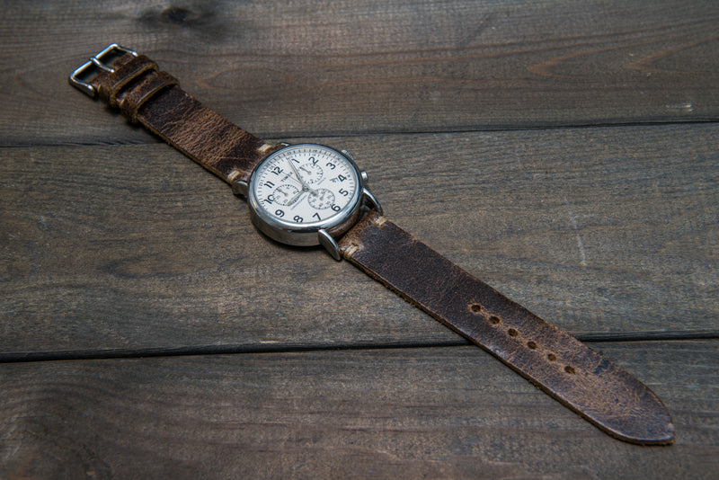 Suede vintage leather watch strap (Crazy cow, Teak), 2 leather keepers, handmade in Finland