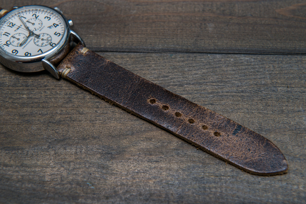 Suede vintage leather watch strap (Crazy cow, Teak), 2 leather keepers, handmade in Finland - finwatchstraps