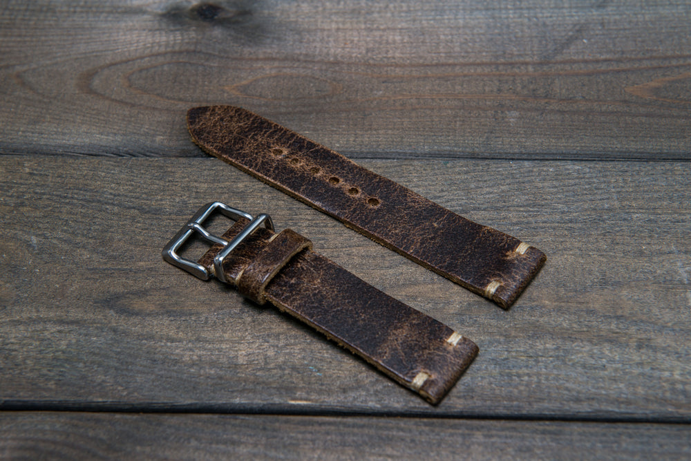 Suede vintage leather watch strap (Crazy cow, Teak),  handmade in Finland