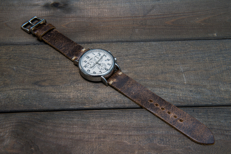 Suede vintage leather watch strap (Crazy cow, Teak), 2 keepers, handmade in Finland - finwatchstraps