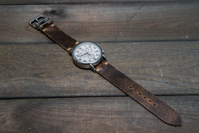 Suede vintage leather watch strap (Crazy cow, Teak), 2 metallic keepers, handmade in Finland