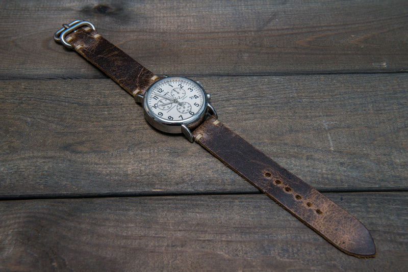 Suede vintage leather watch strap (Crazy cow, Teak), Zulu buckle, handmade in Finland - finwatchstraps