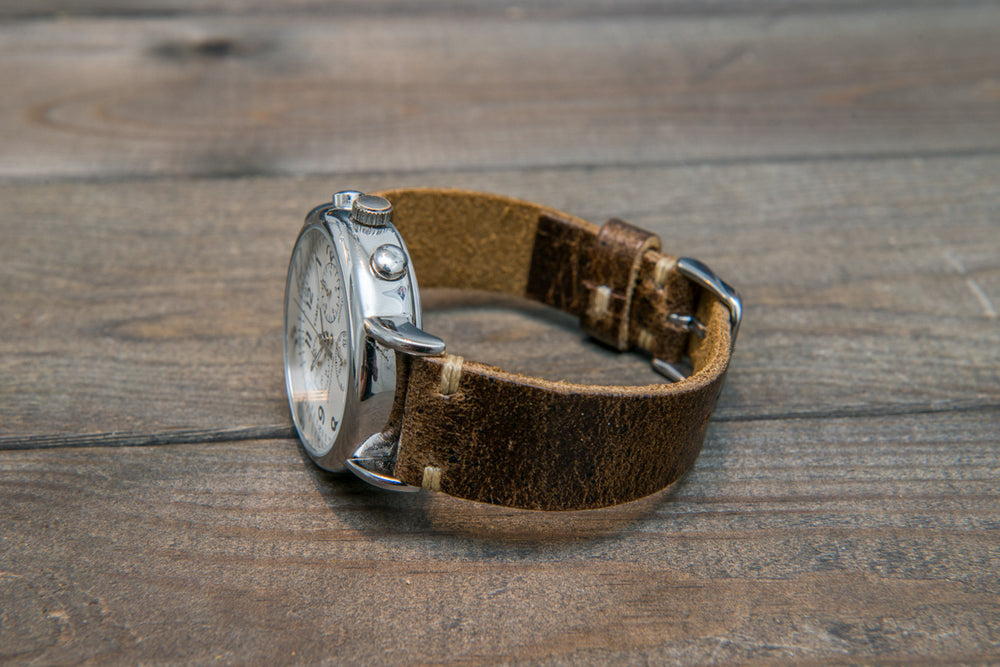 Suede vintage leather watch strap,  tapered model (Crazy cow, Teak), handmade in Finland. - finwatchstraps
