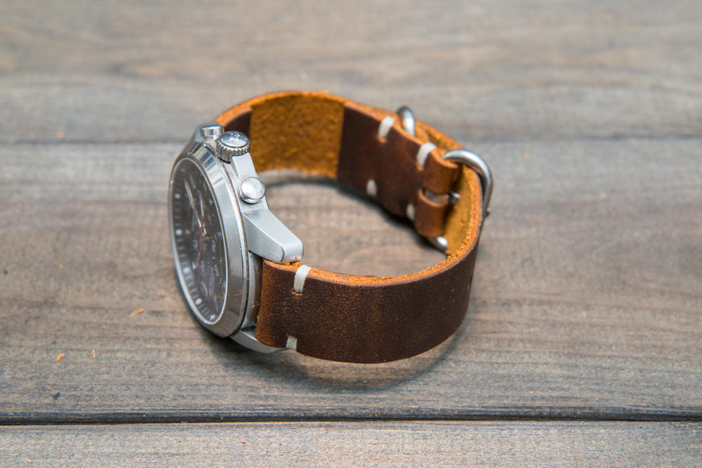 Vintage Vandyke leather watch strap, handmade in Finland - 16mm, 17 mm, 18mm, 19mm, 20mm, 21 mm, 22mm, 23 mm, 24mm.