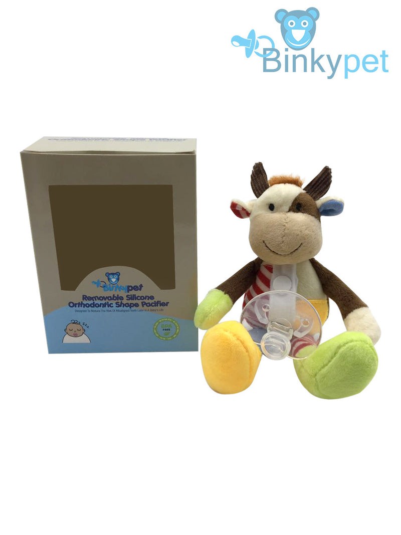 BinkyPet Newborn Pacifier with Unique Stuffed Animal | Orthodontic Safe | Infants, Toddlers Teething Support | Soothing, Travel-Friendly Comfort | Colorful, Plush Toy - ELI (cow) and LUCAS (monkey)