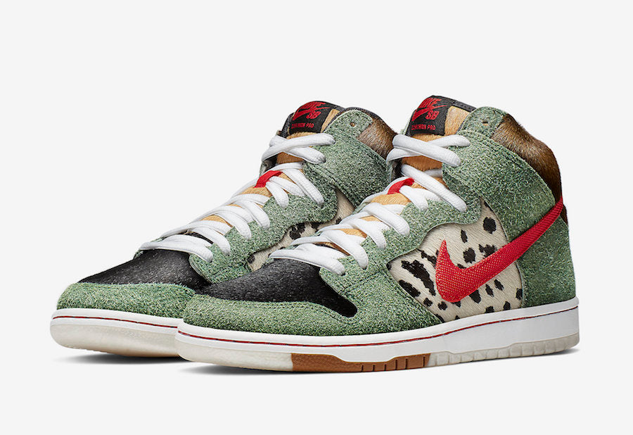nike sb dunk high dog walker edition, mix pattern colors and material, nike red logo,white sole, white backgound