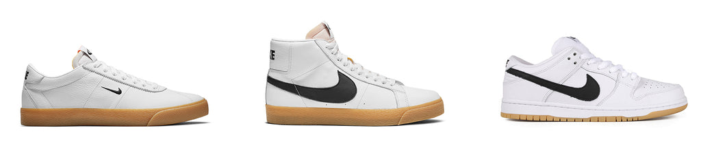 nike sb orange label white and gum shoes, blazer, bruin, dunk, white leather, gum sole,white background