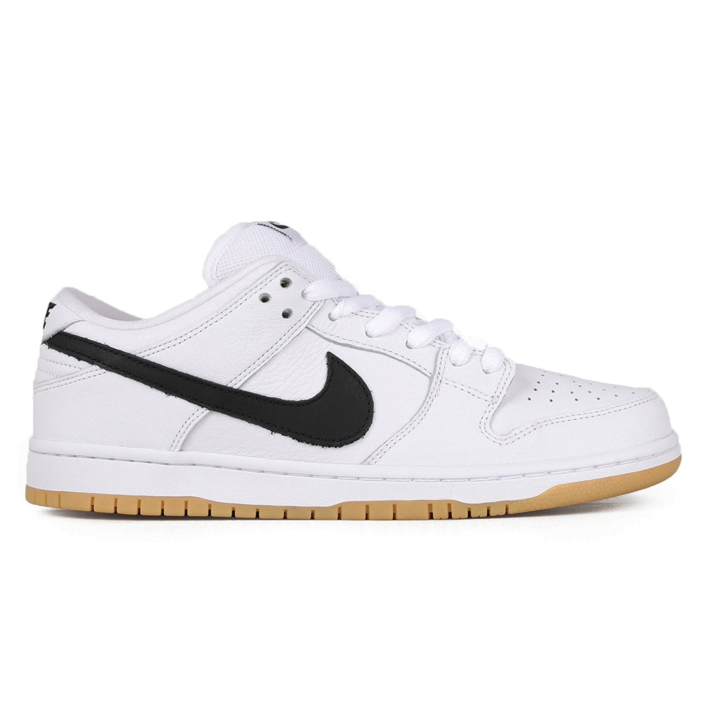 nike sb dunk orange label white and gum shoes, black nike swoosh, white background