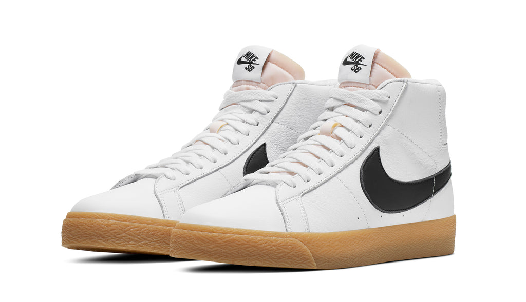 nike sb orange label white and gum blazer, white leather, black nike swoosh, gum sole,white background