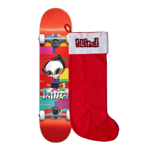 "Bling Reaper Glitch FP Red w/ Stocking 7.75"" Complete Skateboard"