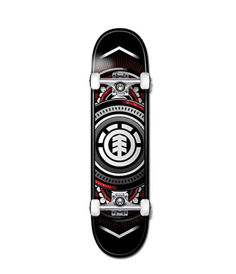 "Element Hatched Red Silver 7.5"" Complete Skateboard"