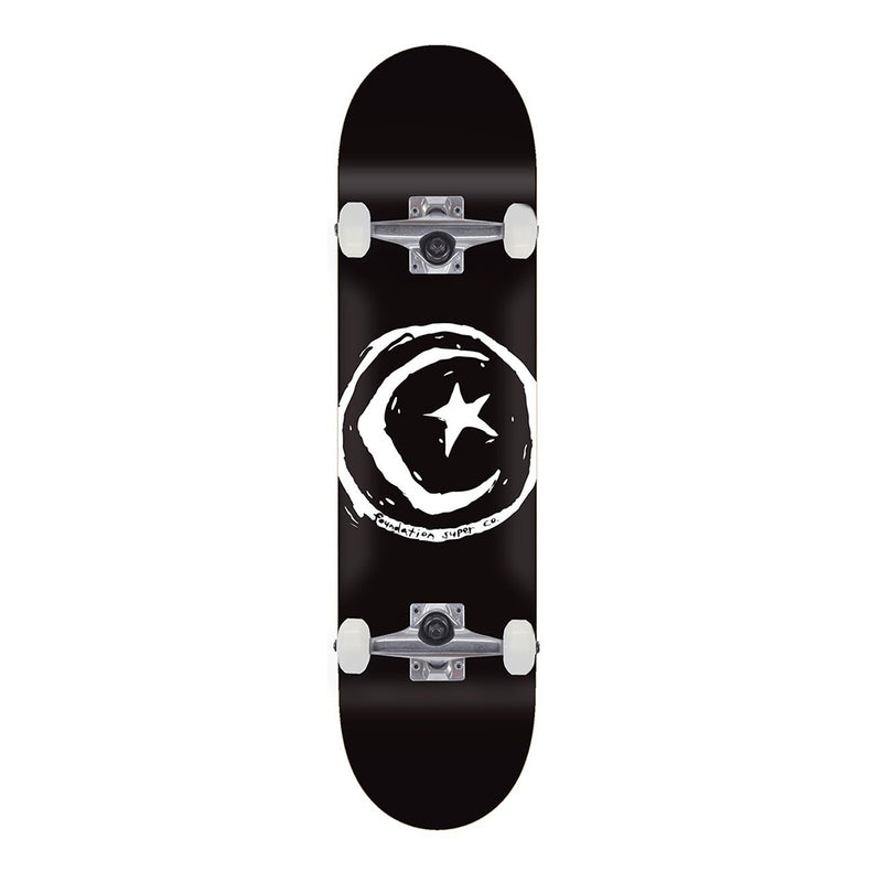FS Star & Moon Black 8.0 Complete Skateboard, Foundation Skateboards