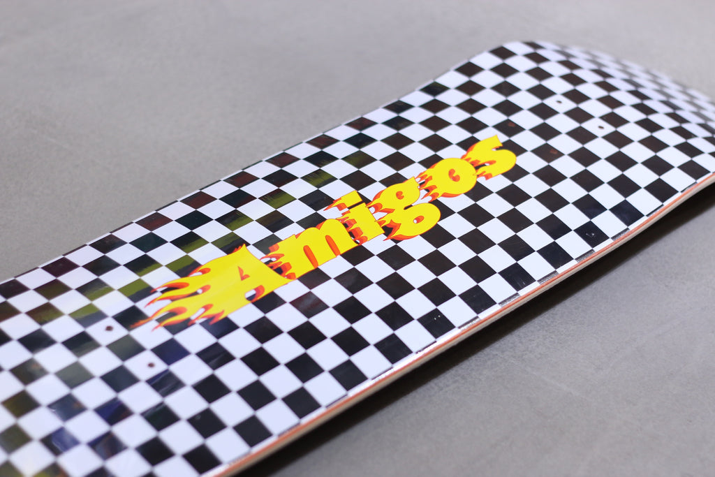 amigos skate shop, racing logo deck 3