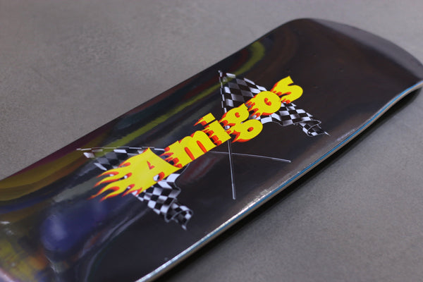 amigos skate shop, deck racing logo 2