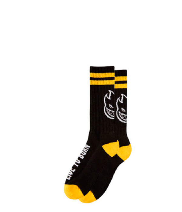 Spitfire socks, heads up, black and yellow,
