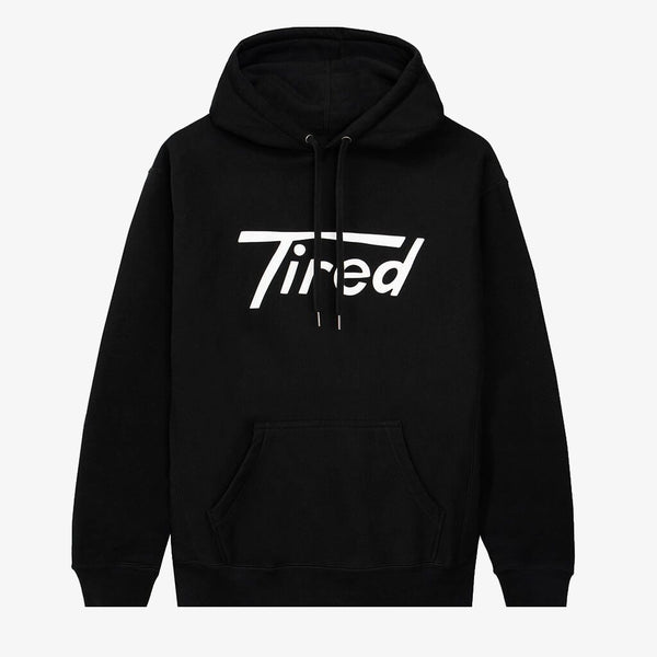 Tired Long T Black Hoodie