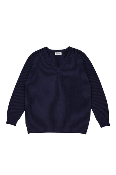 V NECK KNIT_NAVY