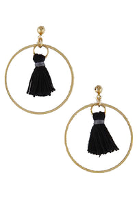 Black Out Tassel Hoops - MyOdara