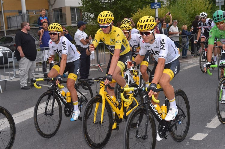 THE TOUR DE FRANCE BELONGS TO SIDI - CHRIS FROOME WEARING YELLOW IN PARIS FOR THE FOURTH TIME. THE FINAL TOP 5 IS ALL SIDI.