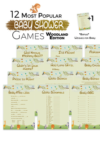 The Printable Baby Shower Games   Cute Woodlands Edition 12 Baby Shower  Games ...