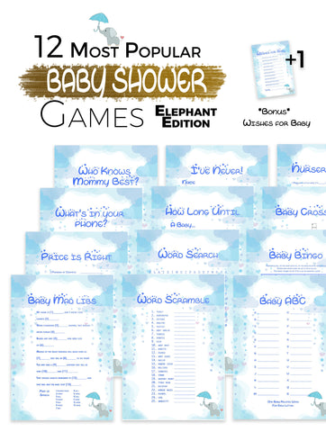 The Printable Baby Shower Games   Elephant Edition 12 Baby Shower Games ...