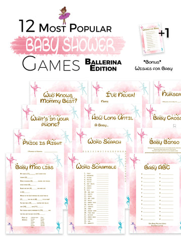 The Printable Baby Shower Games   Watercolour Ballerina Edition 12 Baby  Shower Games ...