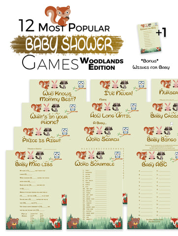 The Printable Baby Shower Games   Woodlands Edition 12 Baby Shower Games ...