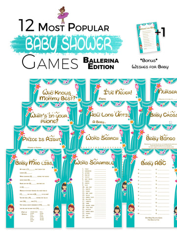 The Printable Baby Shower Games   Cute Ballerina Edition 12 Baby Shower  Games ...