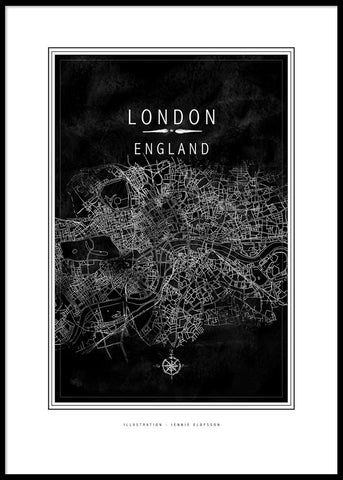 LINE OF ART - LONDON BLACK POSTER
