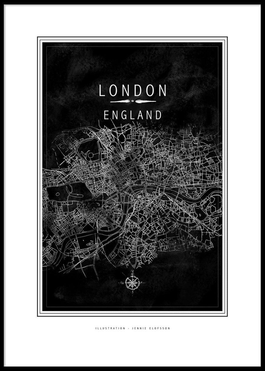 Posters & Prints - LINE OF ART - LONDON BLACK POSTER