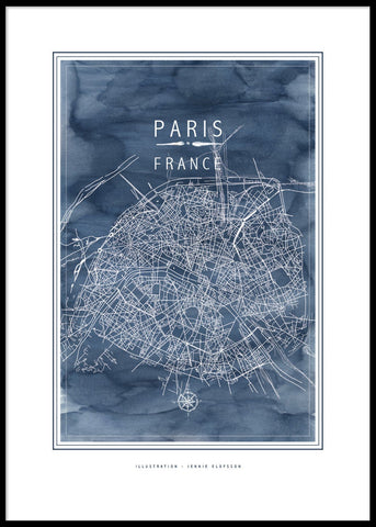 LINE OF ART - PARIS BLUE POSTER