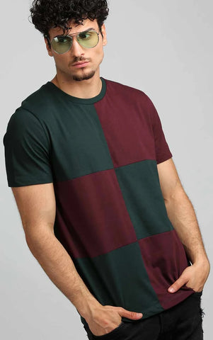 CHECKERED GREEN AND MAROON T SHIRT