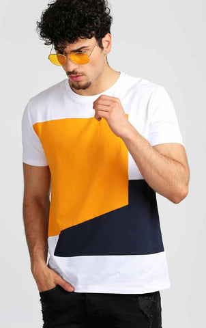 FRONT DESIGNED YELLOW AND WHITE T-SHIRT
